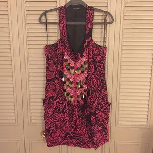 Nanette Lepore Pink and Black Silk Beaded Dress